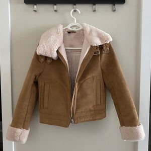 Brown Suede Sherpa Jacket with Faux Fur Lining